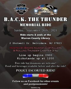 B.A.C.K. The Thunder Memorial Ride @ Warren County Library